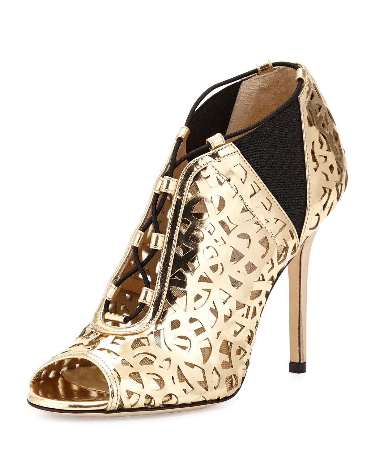 Jimmy Choo Tactic Lace-up Cutout Bootie In Metallic
