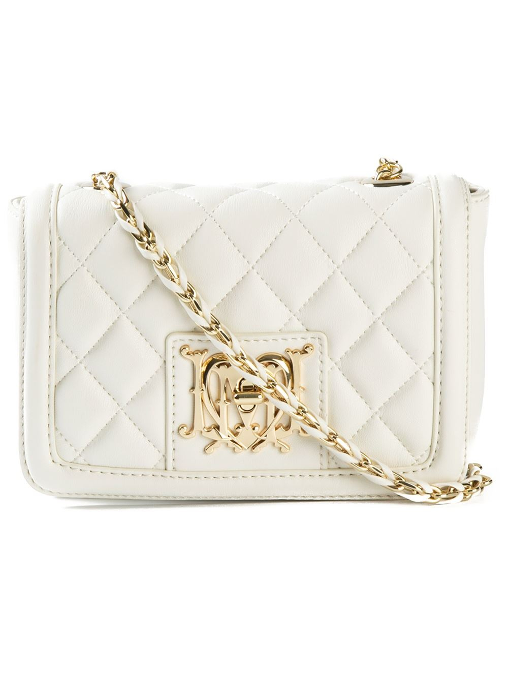5b753bf88df Love Moschino Quilted-Leather Cross-Body Bag in White - Lyst