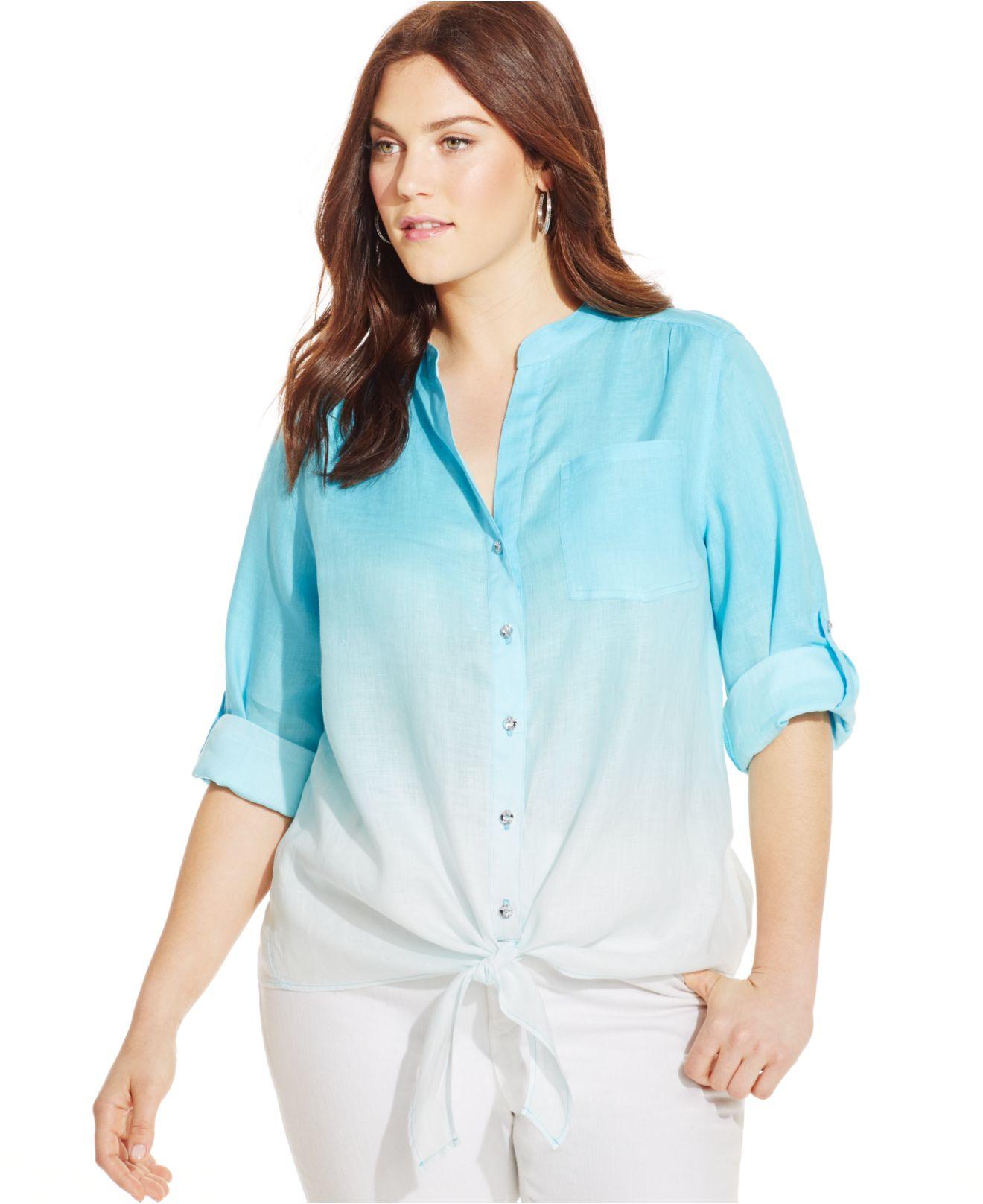 Inc International Concepts Plus Size Ombré Tie-front Linen