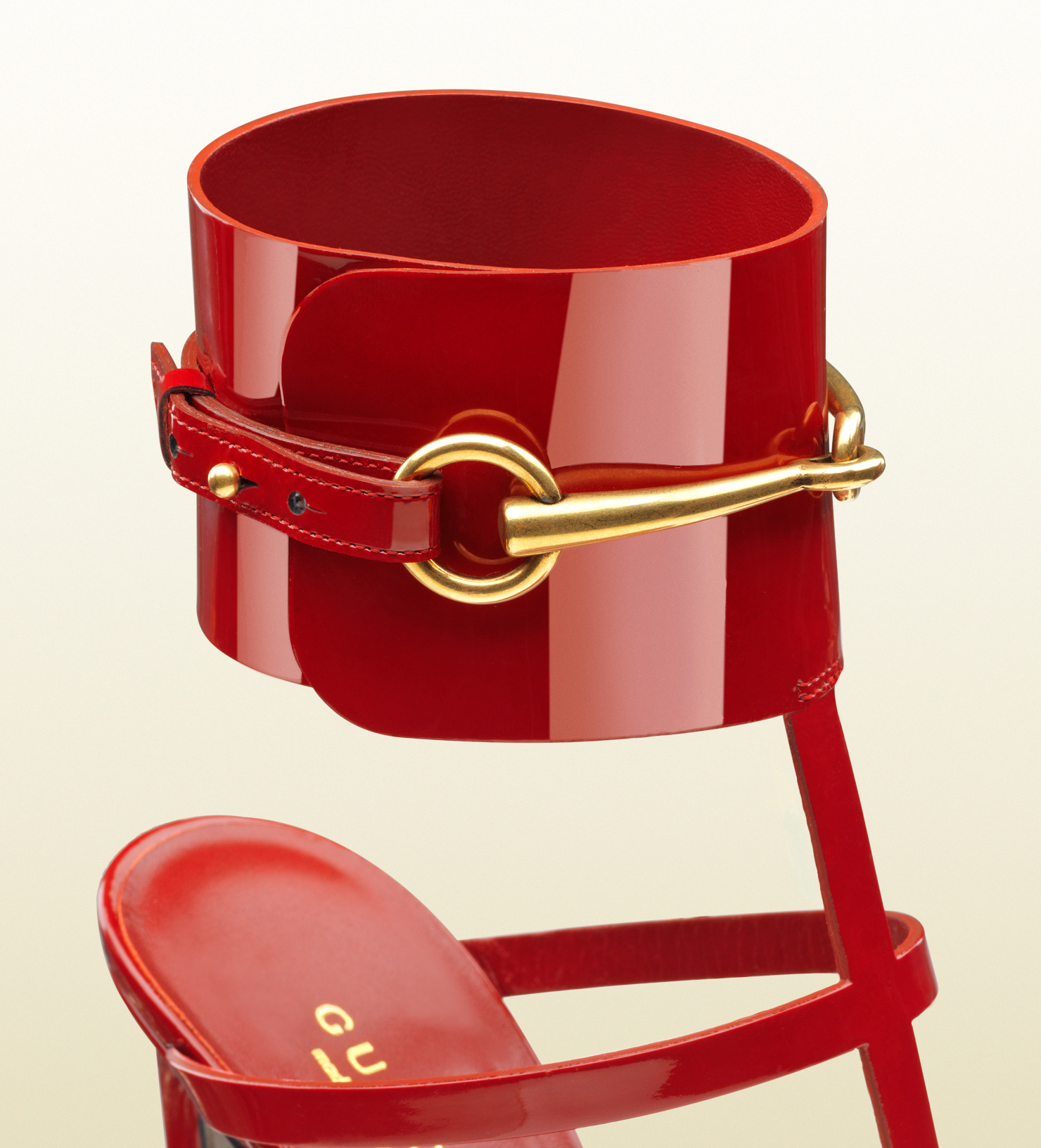 Lyst Gucci Patent Leather Ankle Strap Sandal In Red