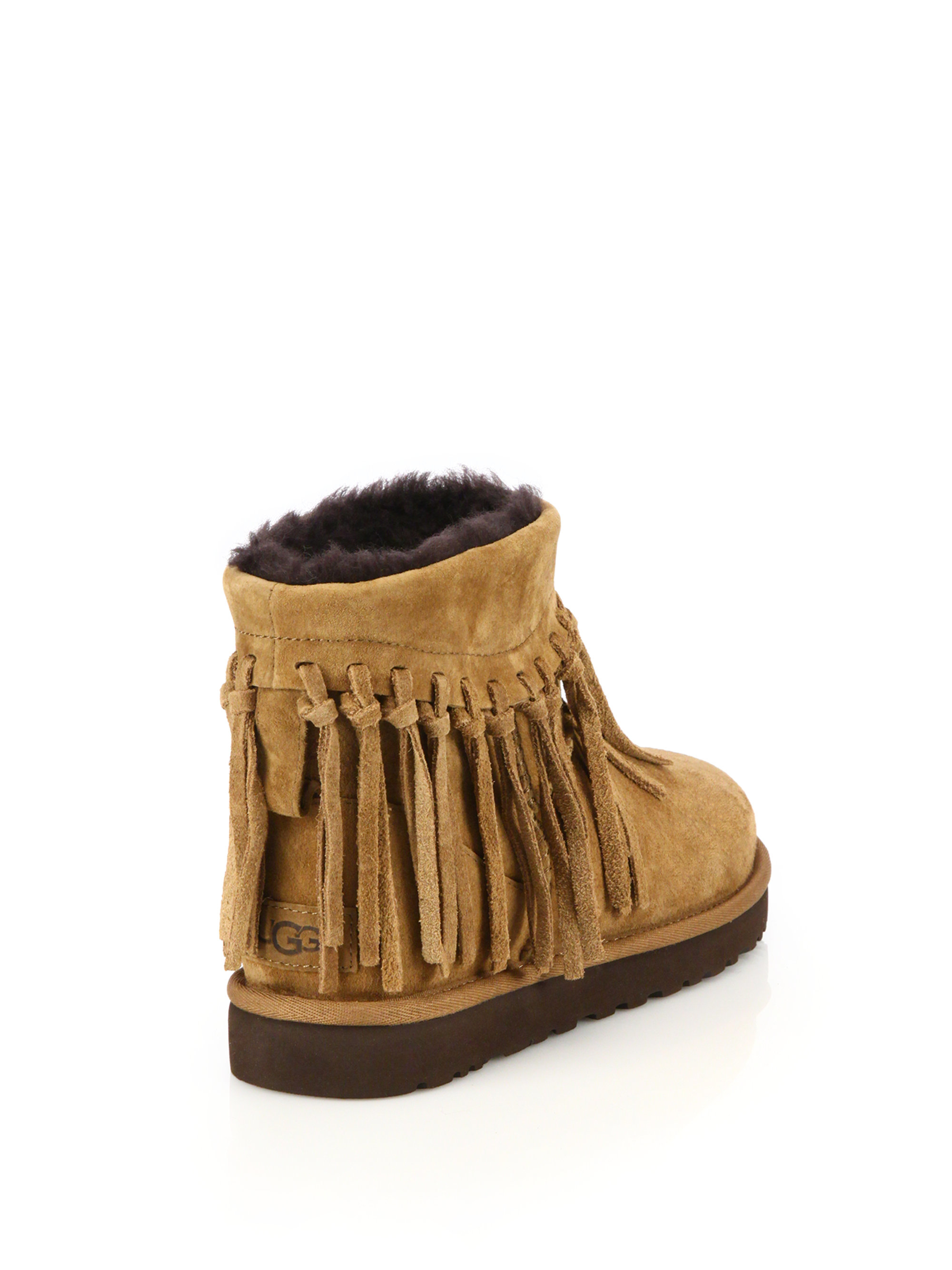 b0641603286 UGG Brown Wynona Fringed Suede Boots