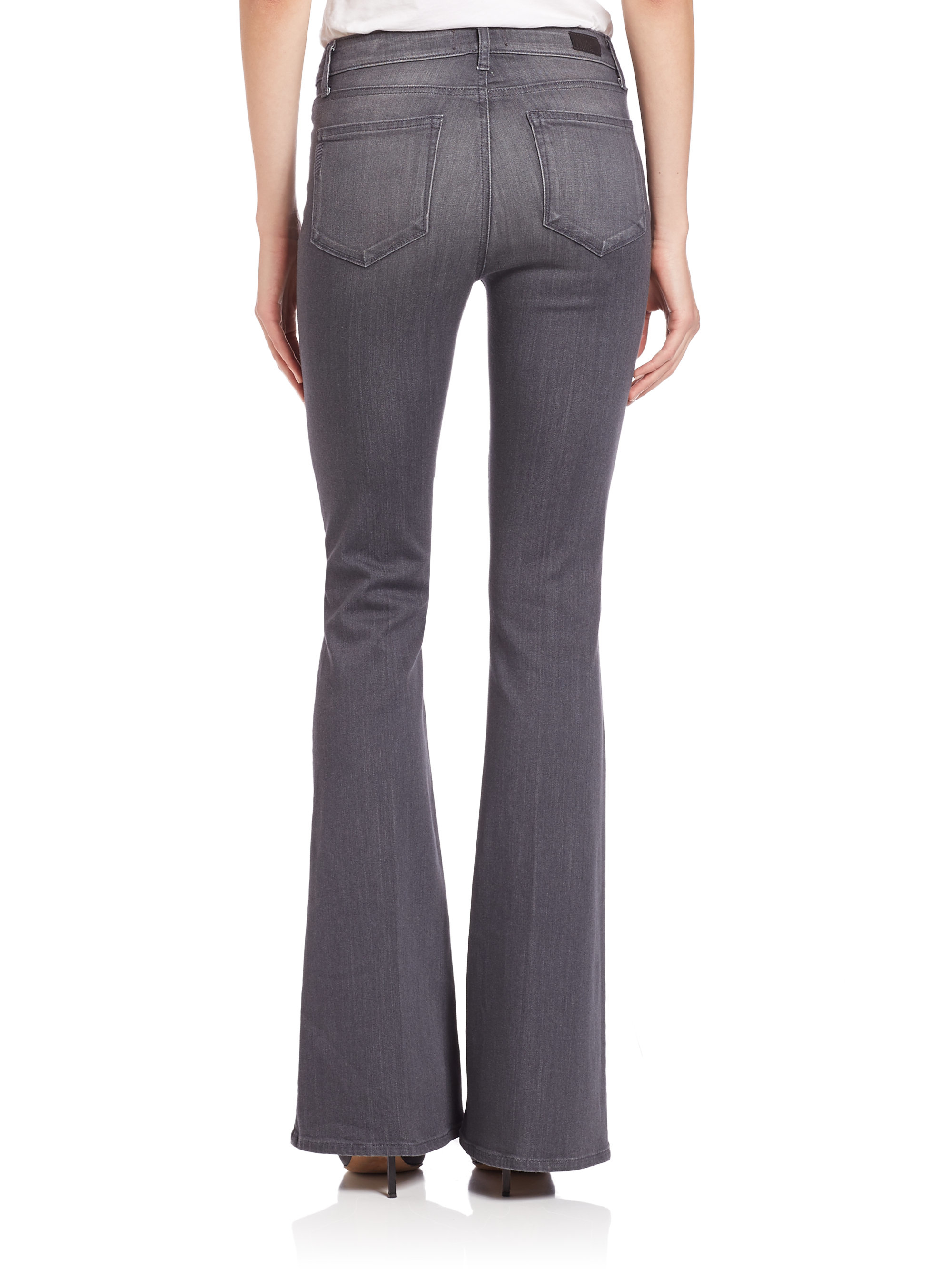 Paige Bell Canyon High-rise Flared Jeans in Gray | Lyst