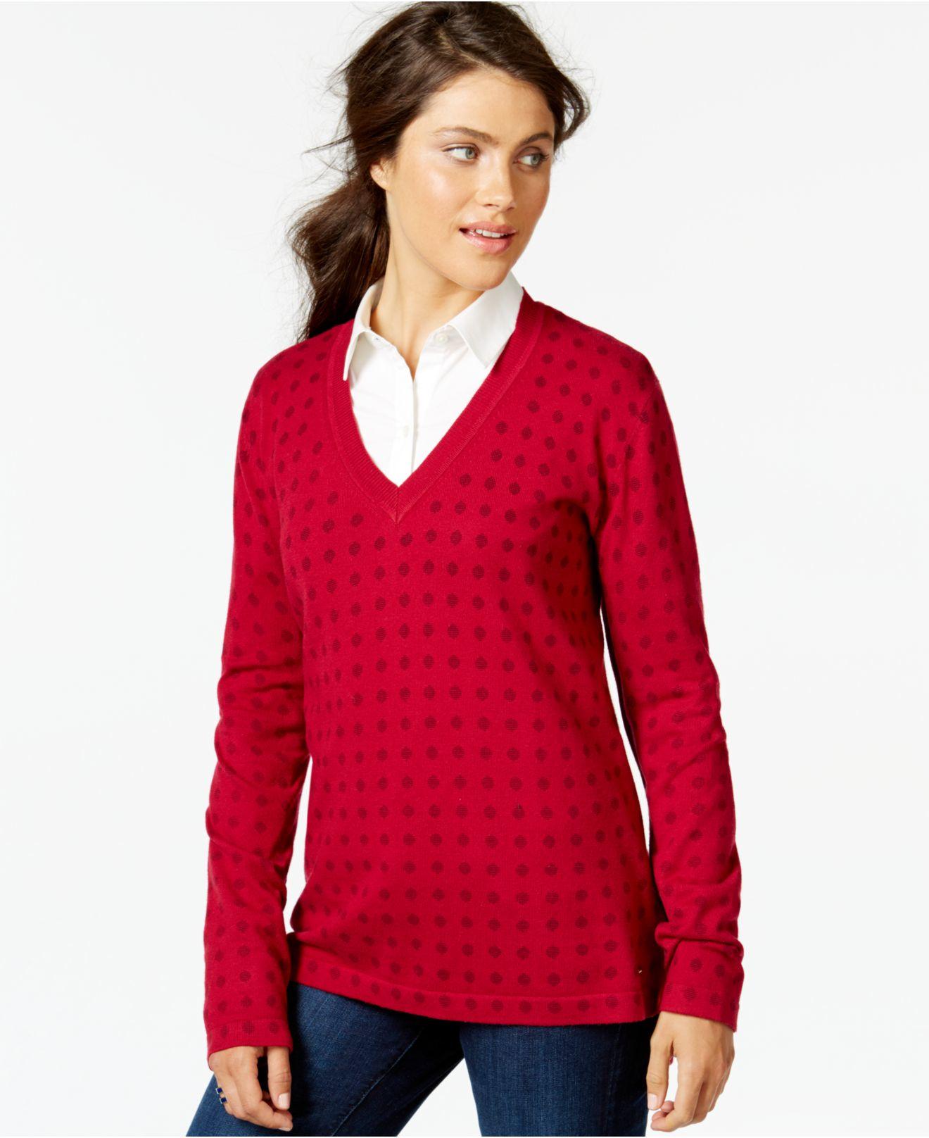 tommy hilfiger red printed v neck sweater lyst. Black Bedroom Furniture Sets. Home Design Ideas