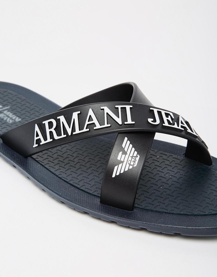 f52767ba4 Lyst - Armani Jeans Logo Cross Over Flip Flops in Blue for Men