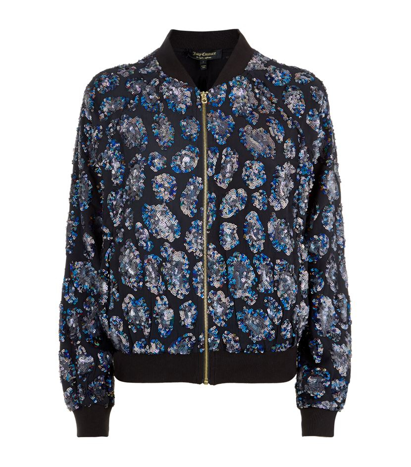 f93cd34ab Juicy Couture Blue Leopard Sequin Bomber Jacket