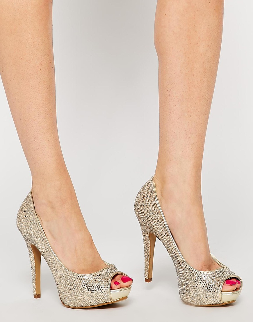 1e094541782 Lyst - ALDO Nean Gold Glitter Peep Toe Heeled Shoes in Metallic