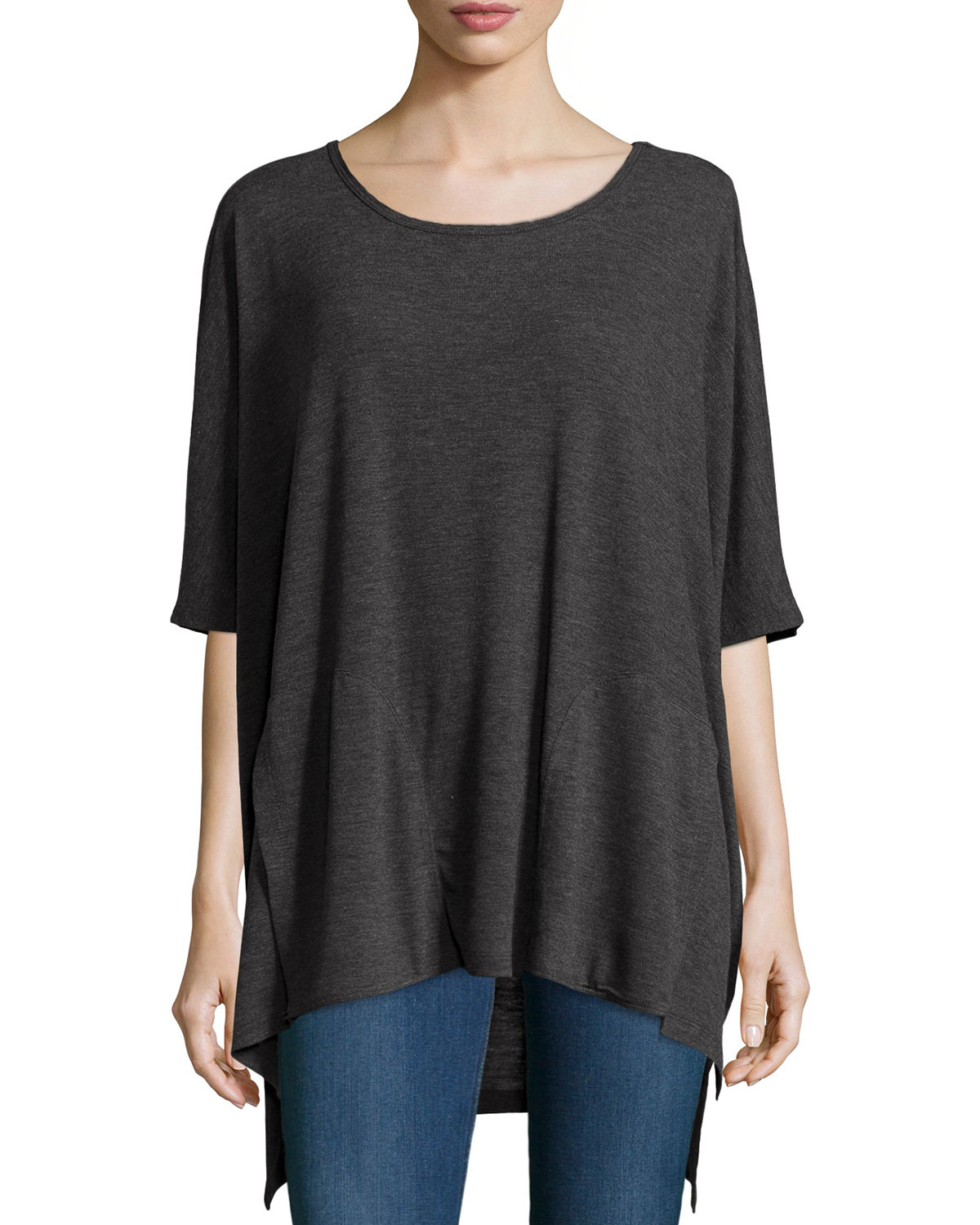 neiman marcus boat neck high low 3 4 sleeve tee in green