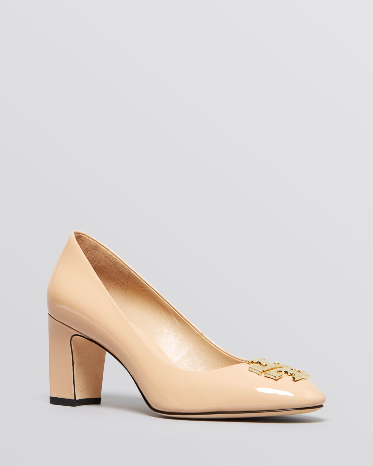 5f876587164 Lyst - Tory Burch Pumps - Raleigh Logo Mid Heel in Natural