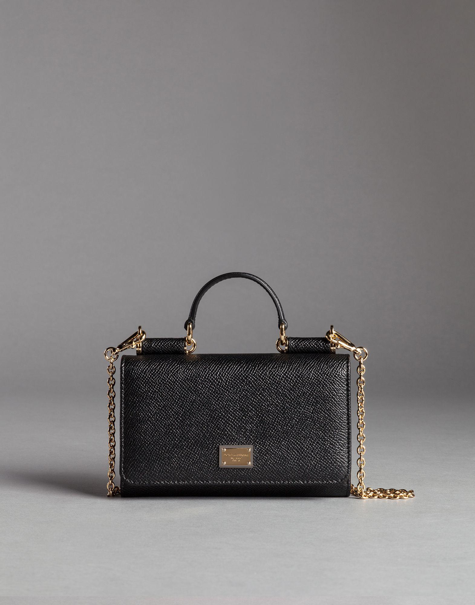 81584bcbf904 Lyst - Dolce   Gabbana Mini Von Bag In Dauphine Print Leather in Black