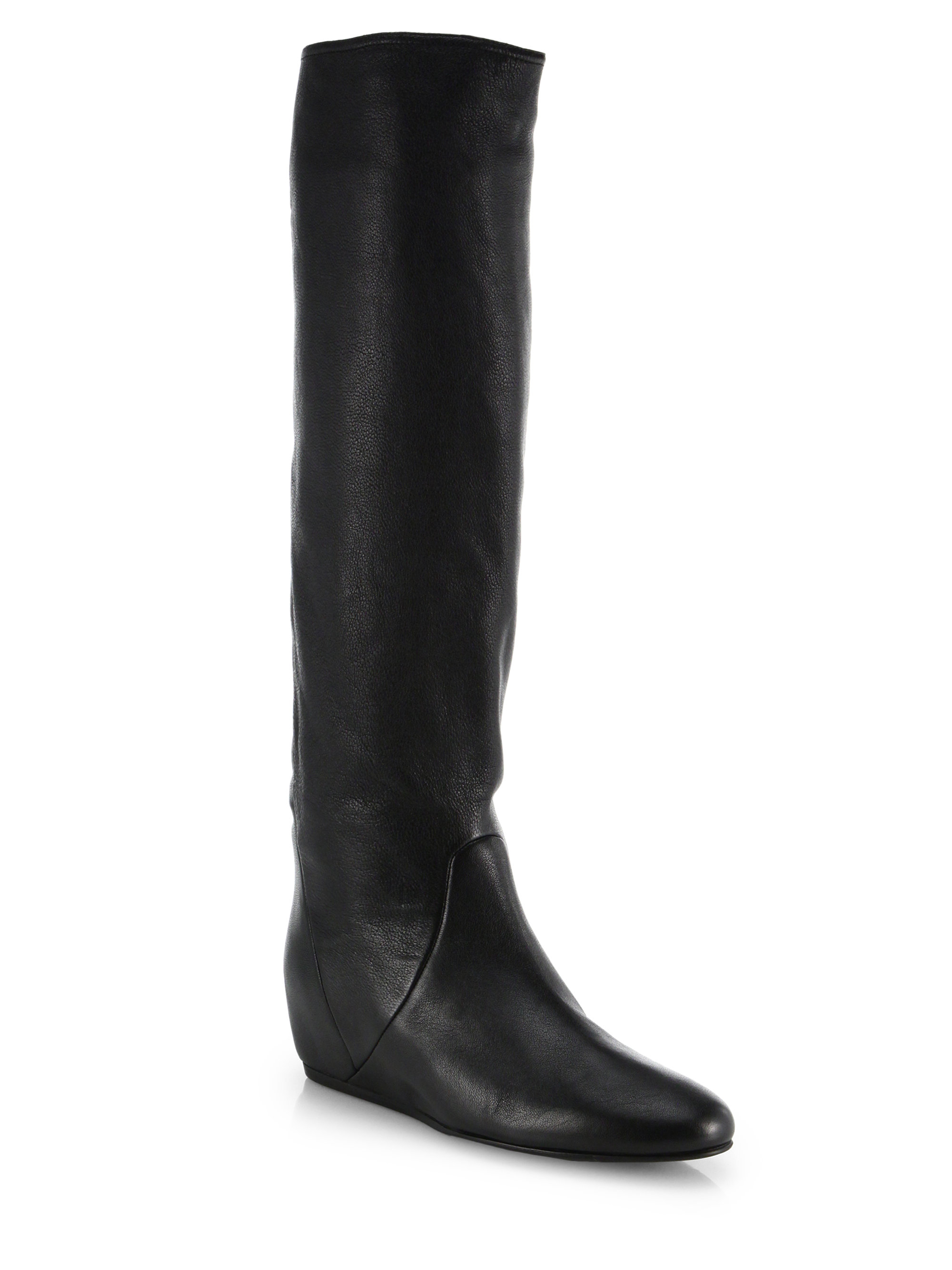 Lyst Lanvin Hidden Wedge Leather Knee High Boots In Black