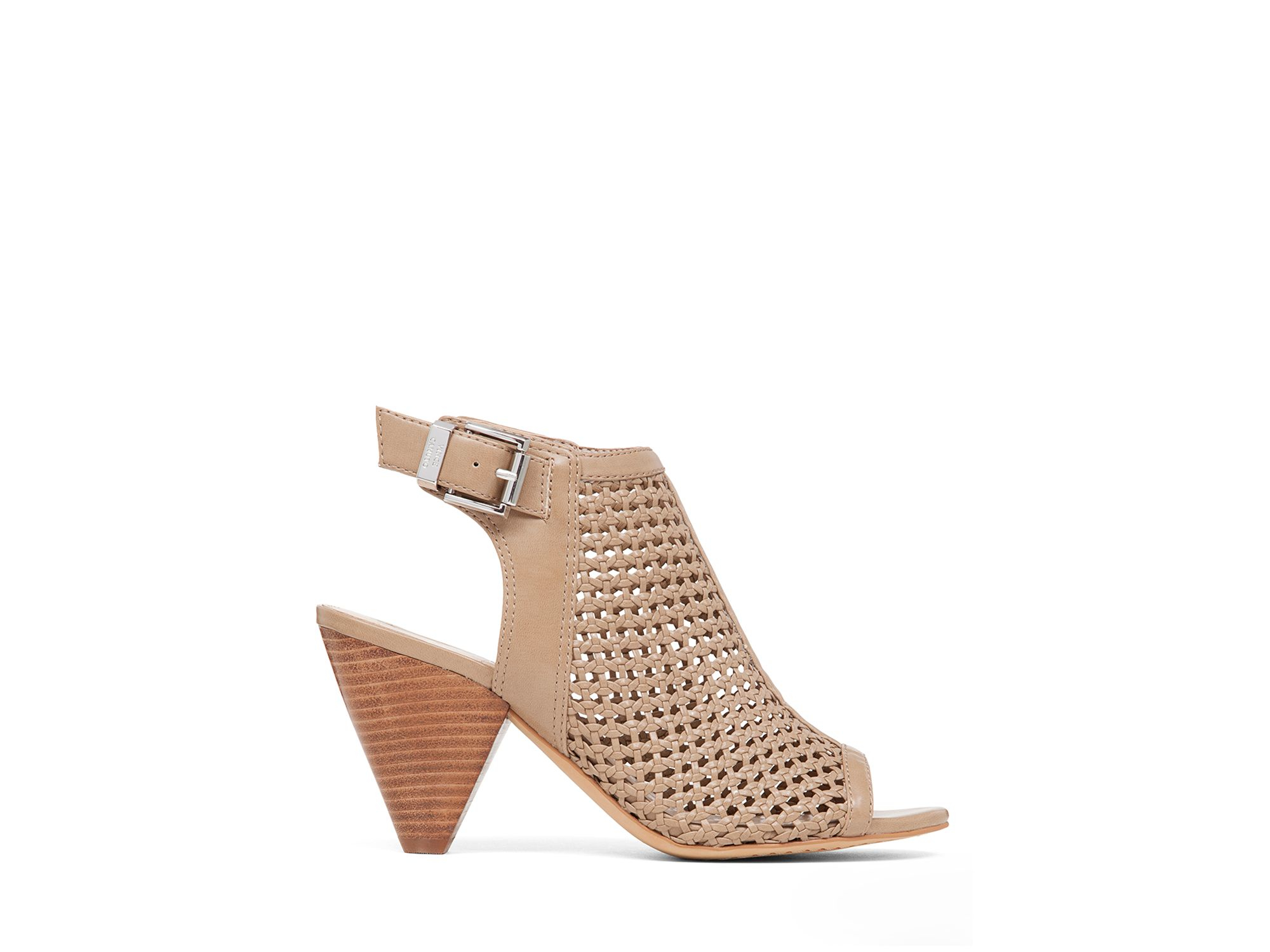 Vince Camuto Open Toe Booties - Emilia Perforated in Brown