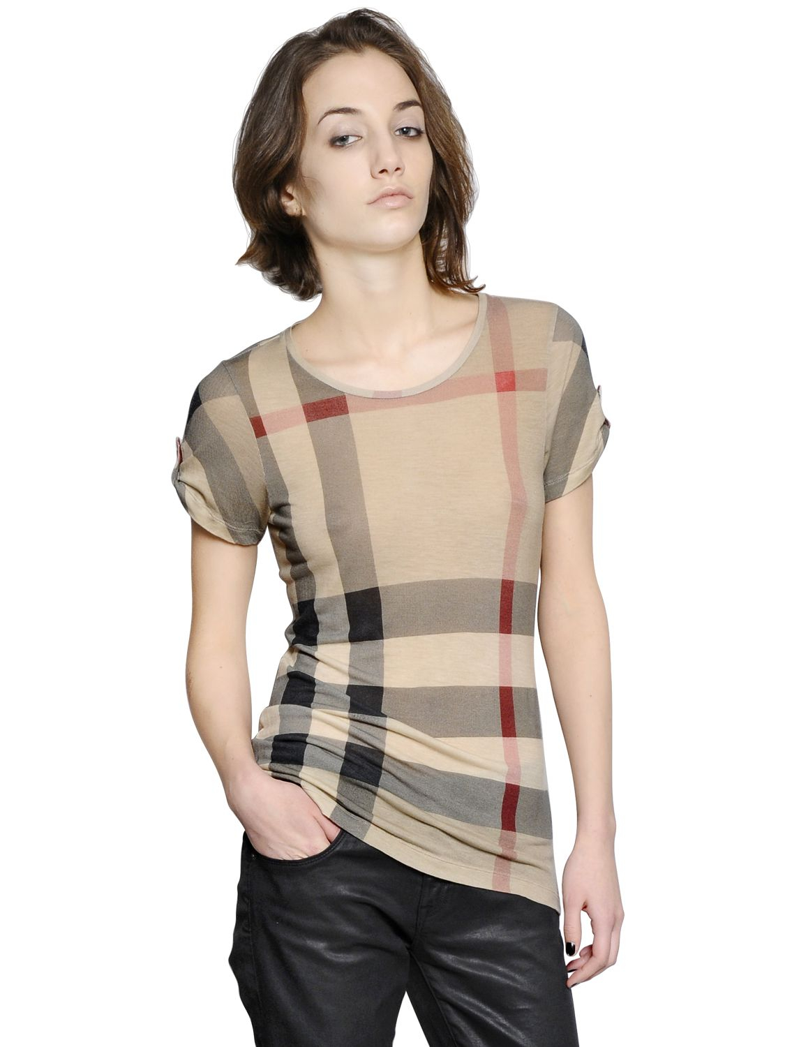Burberry brit check printed modal t shirt in beige lyst for Burberry brit checked shirt