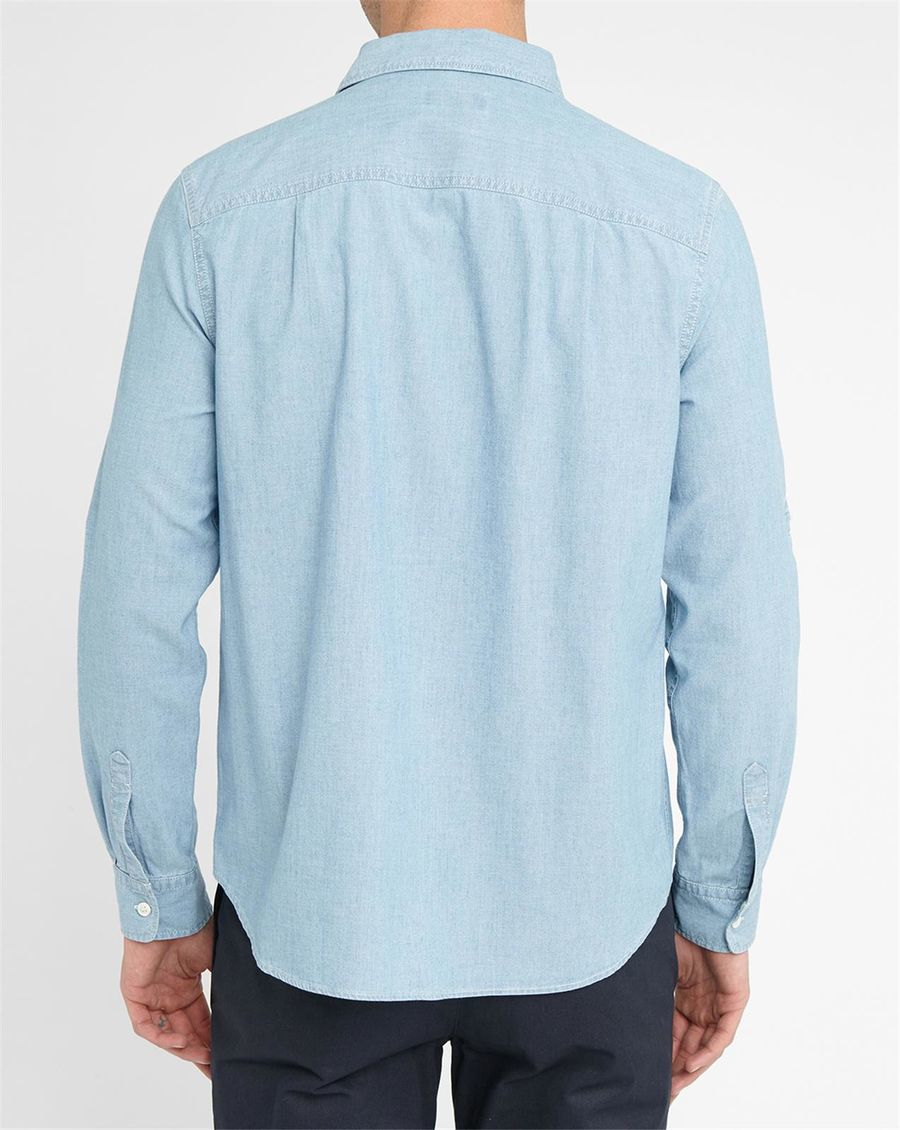A P C Light Blue Kansas Pockets Denim Shirt In Blue For