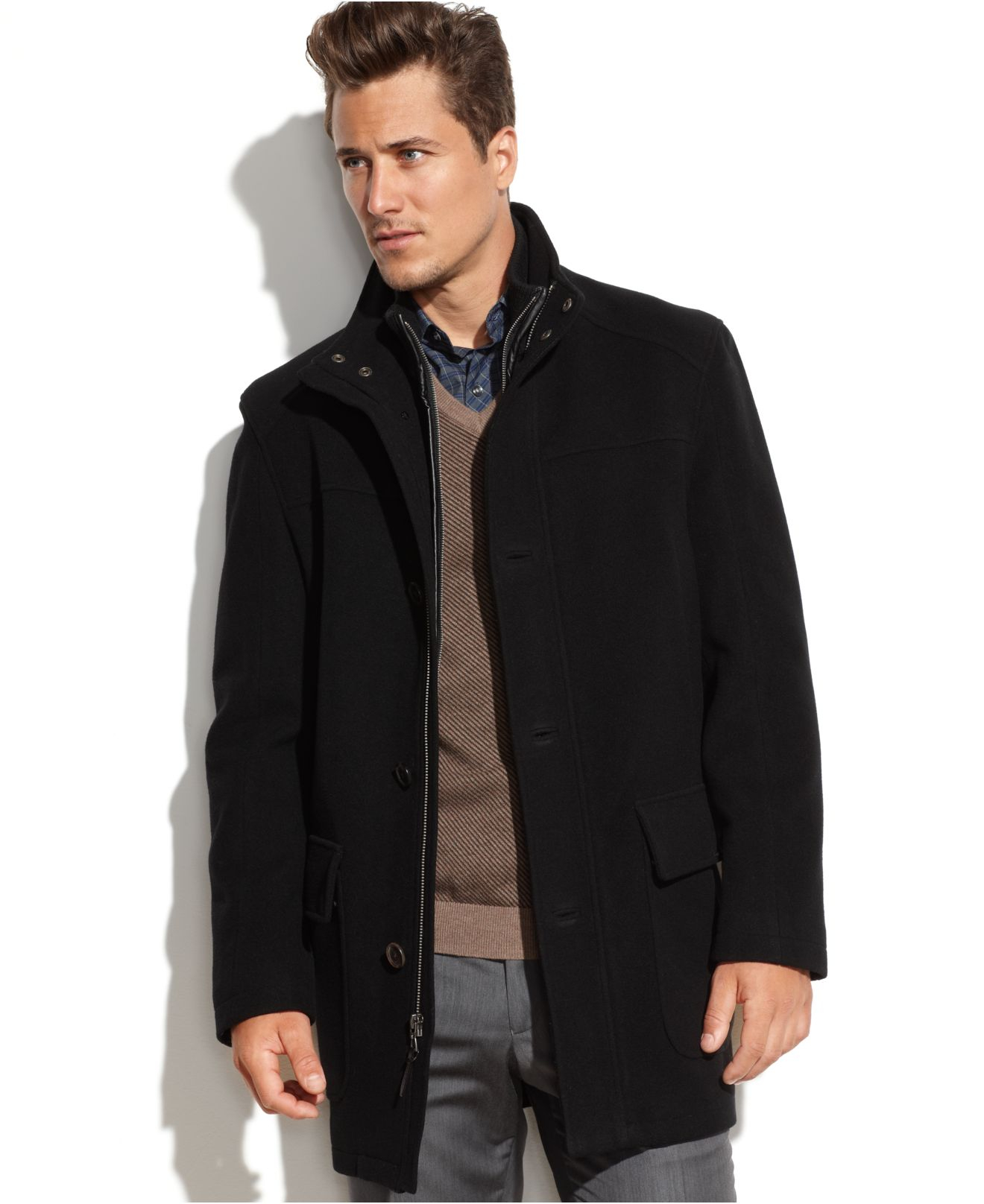 Cole haan Wool-blend Contrast-bib Car Coat in Black for Men | Lyst