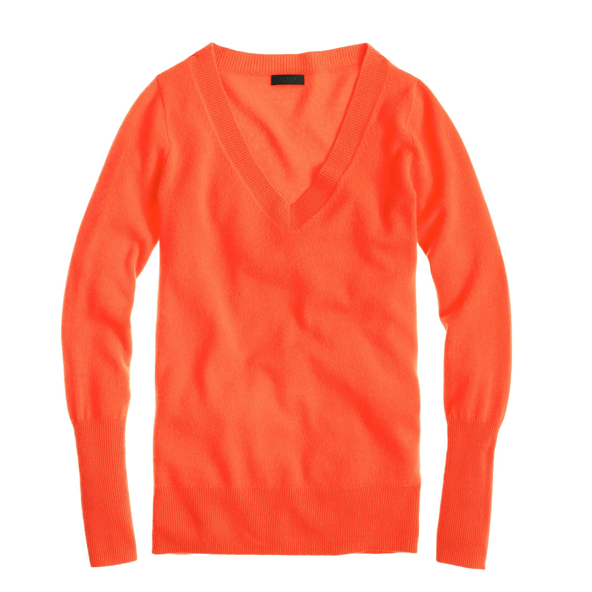 J.crew Collection Cashmere V-Neck Sweater in Orange | Lyst