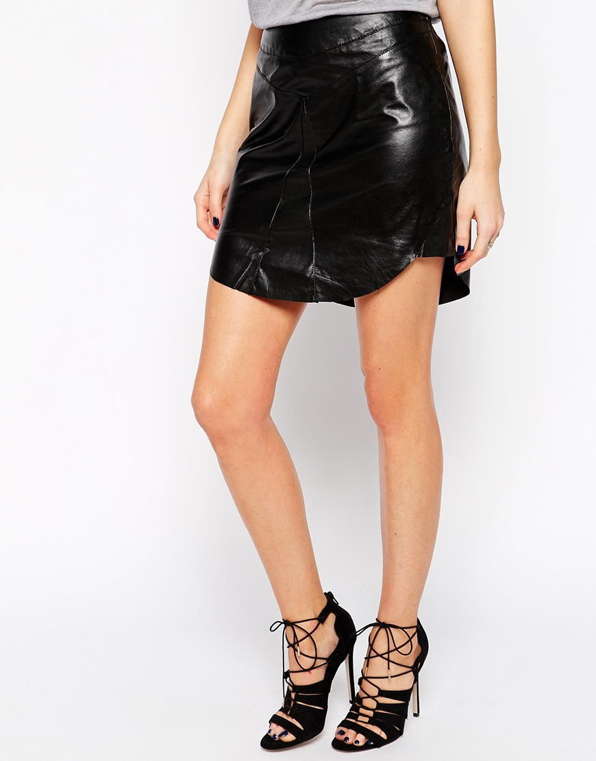 y a s black leather mini skirt with longer front panel in