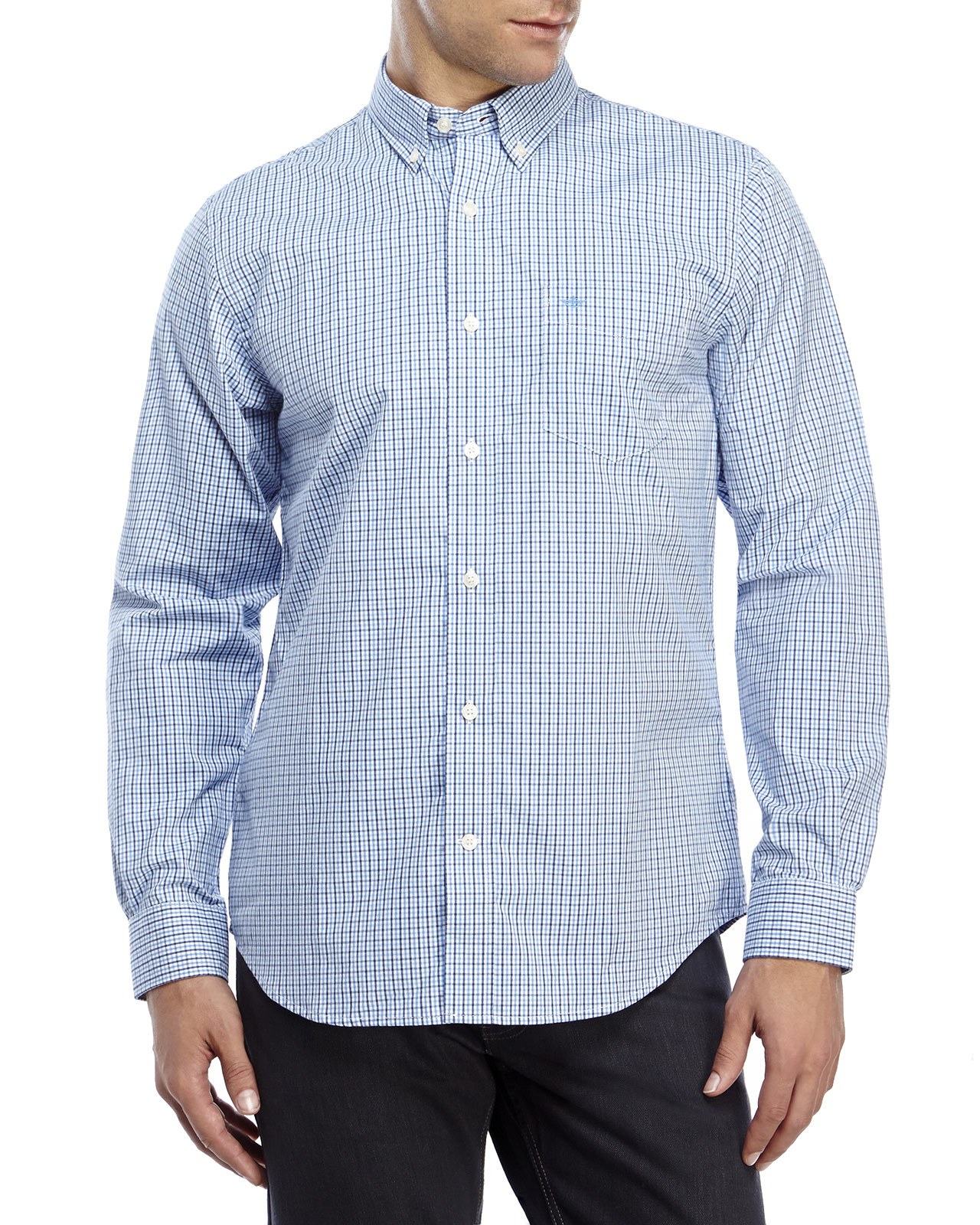Dockers soft no wrinkle button down shirt in blue for men for Dockers wrinkle free shirts