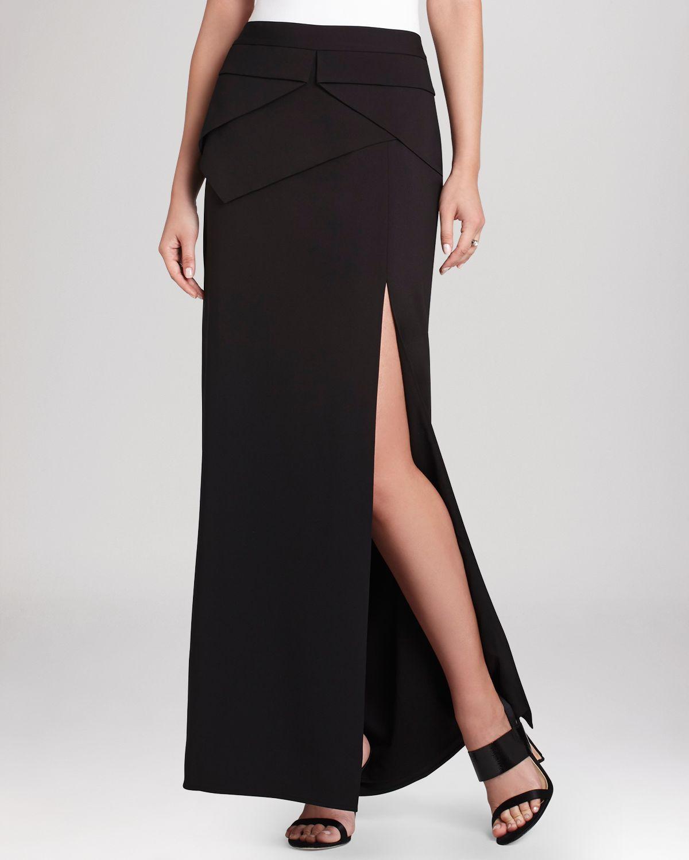 bcbgmaxazria beverly peplum maxi skirt in black lyst