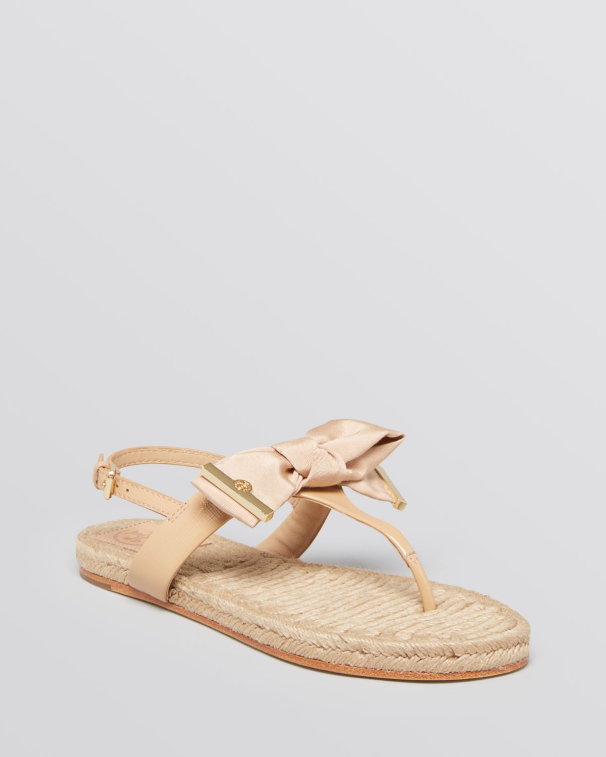 Lyst Tory Burch Flat Thong Sandals Penny Bow In Pink