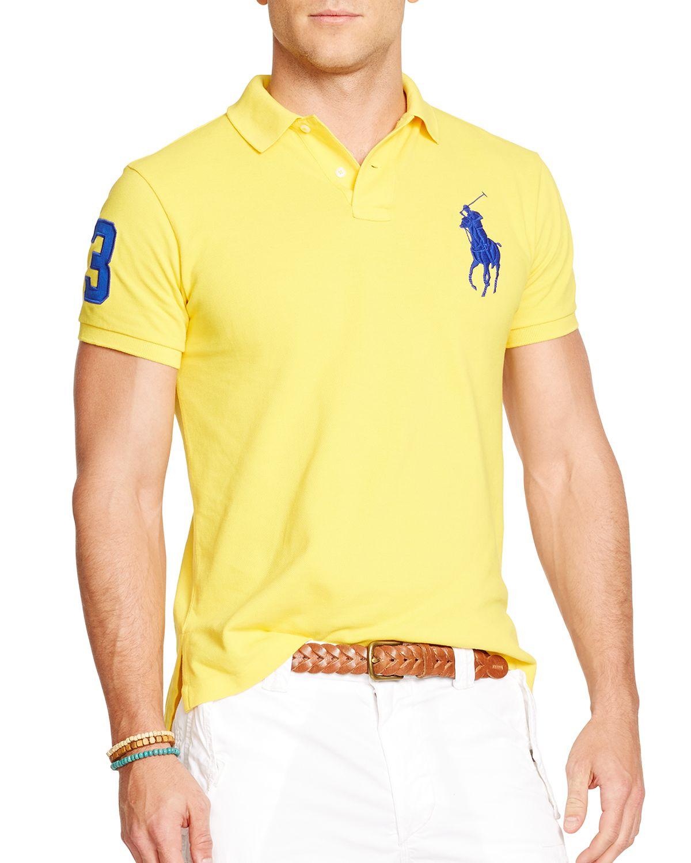 f6a06efded30 Polo Ralph Lauren Custom-Fit Big Pony Mesh Nautical Polo Shirt Men