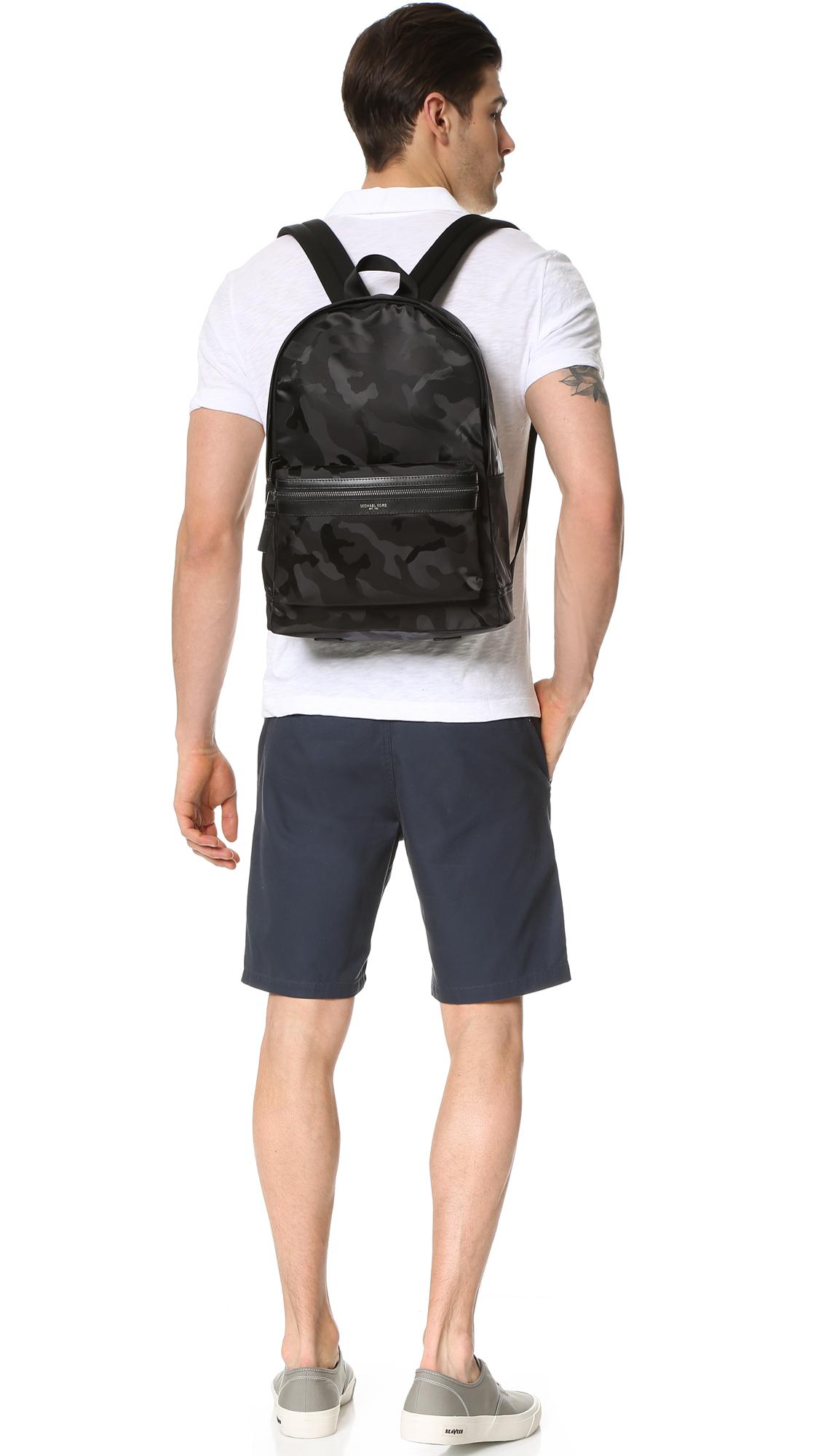 deb6462210ef Michael Kors Kent Camo Nylon Backpack in Black for Men - Lyst