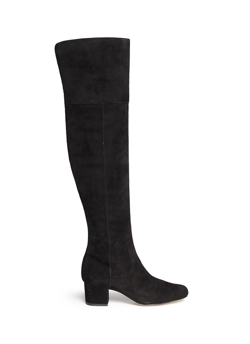sam edelman elina suede thigh high boots in black lyst