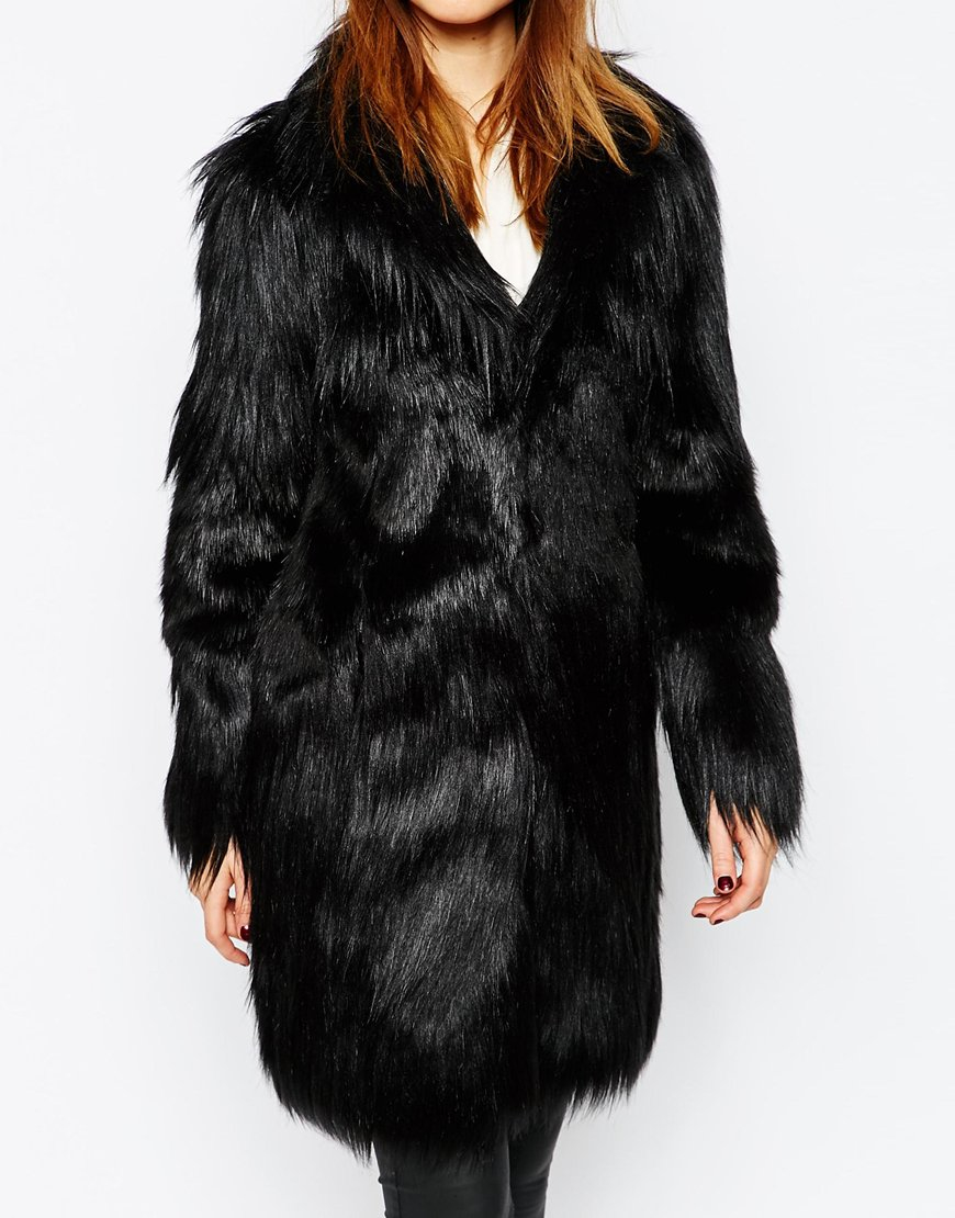 Warehouse Faux Fur Coat in Black | Lyst
