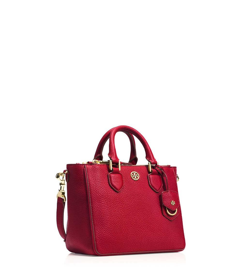 75670d4d817d Lyst - Tory Burch Robinson Pebbled Mini Square Tote in Red