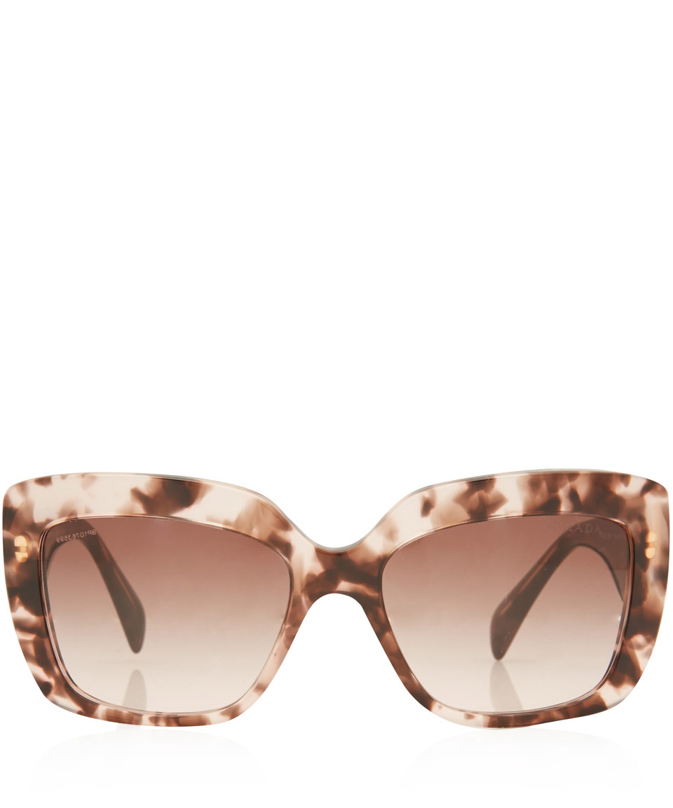 Prada Pink Tortoiseshell Square Sunglasses in Brown