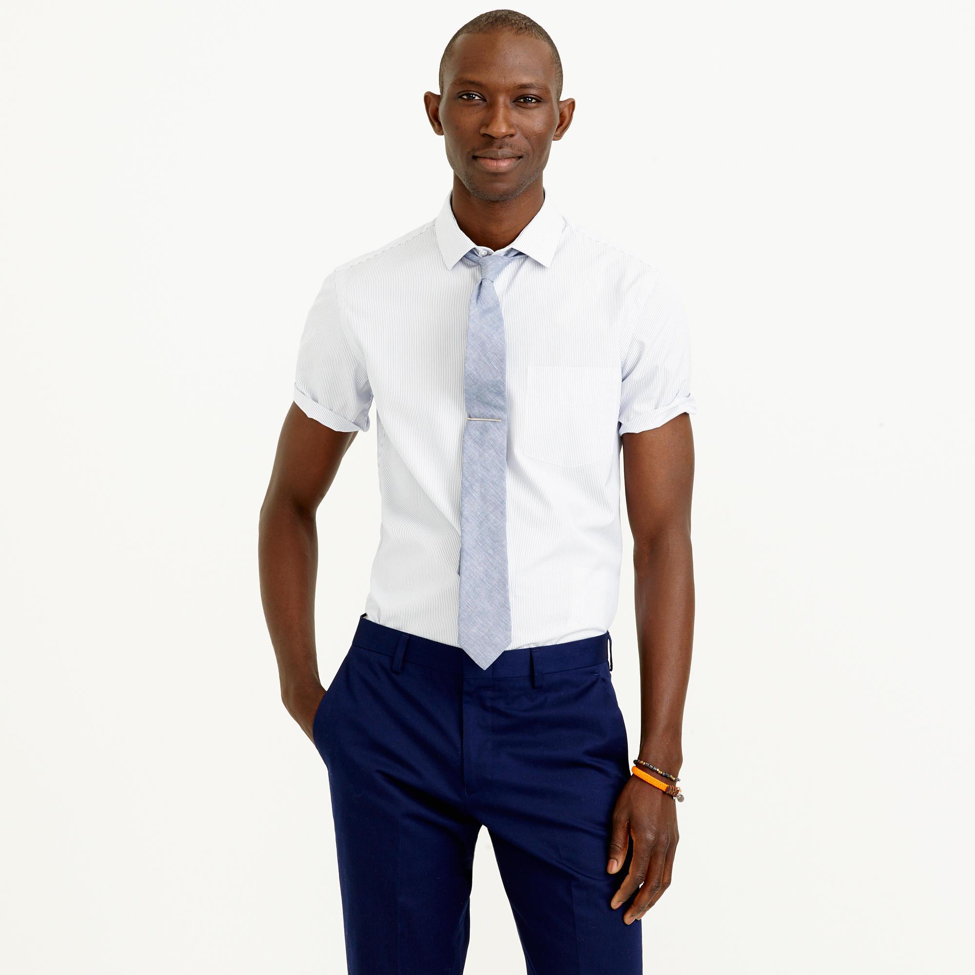 Thomas Mason Short Sleeve Ludlow Shirt In Dark Peri