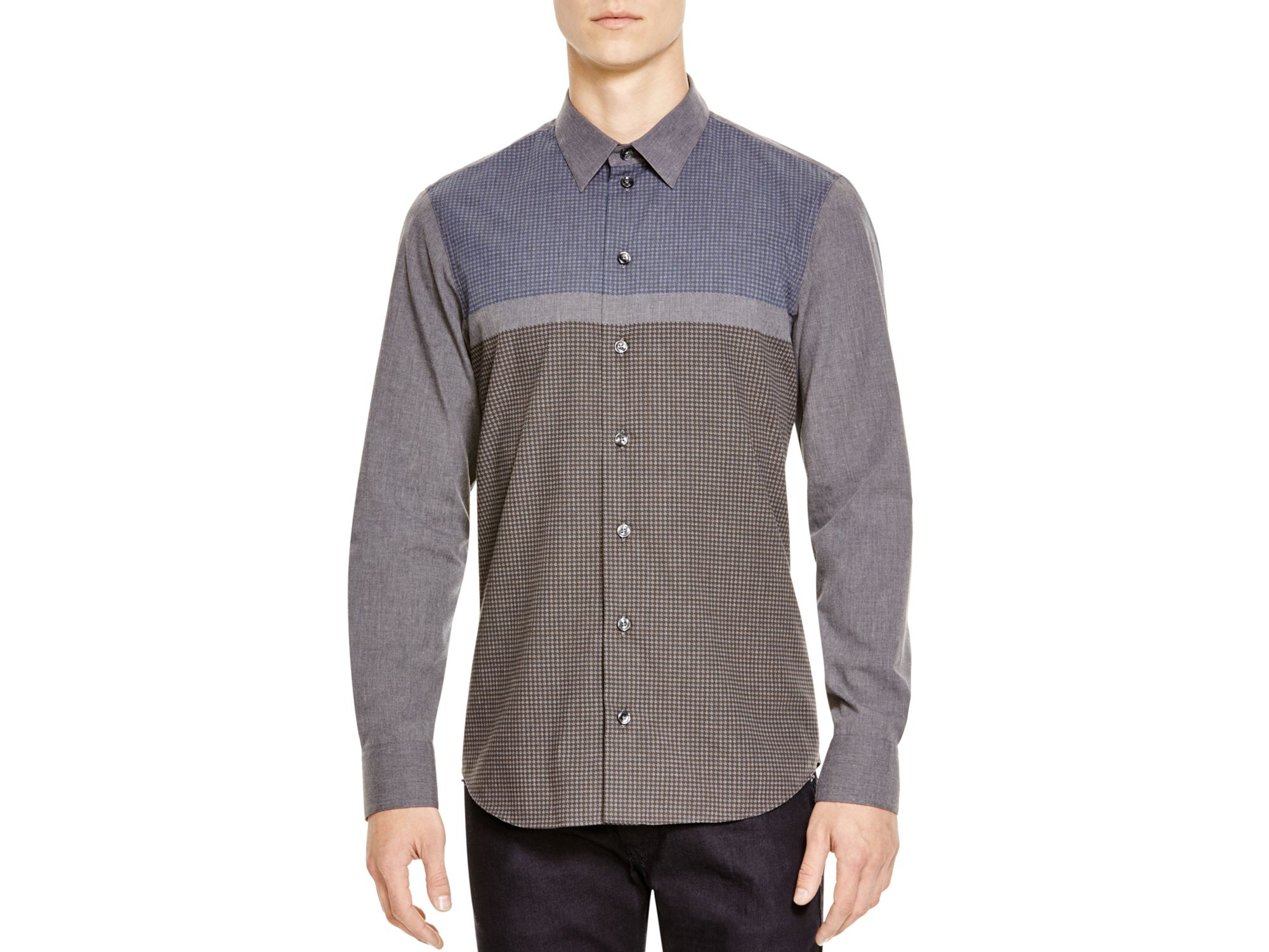 Armani Multicolor Printed Classic Fit Button Down Shirt
