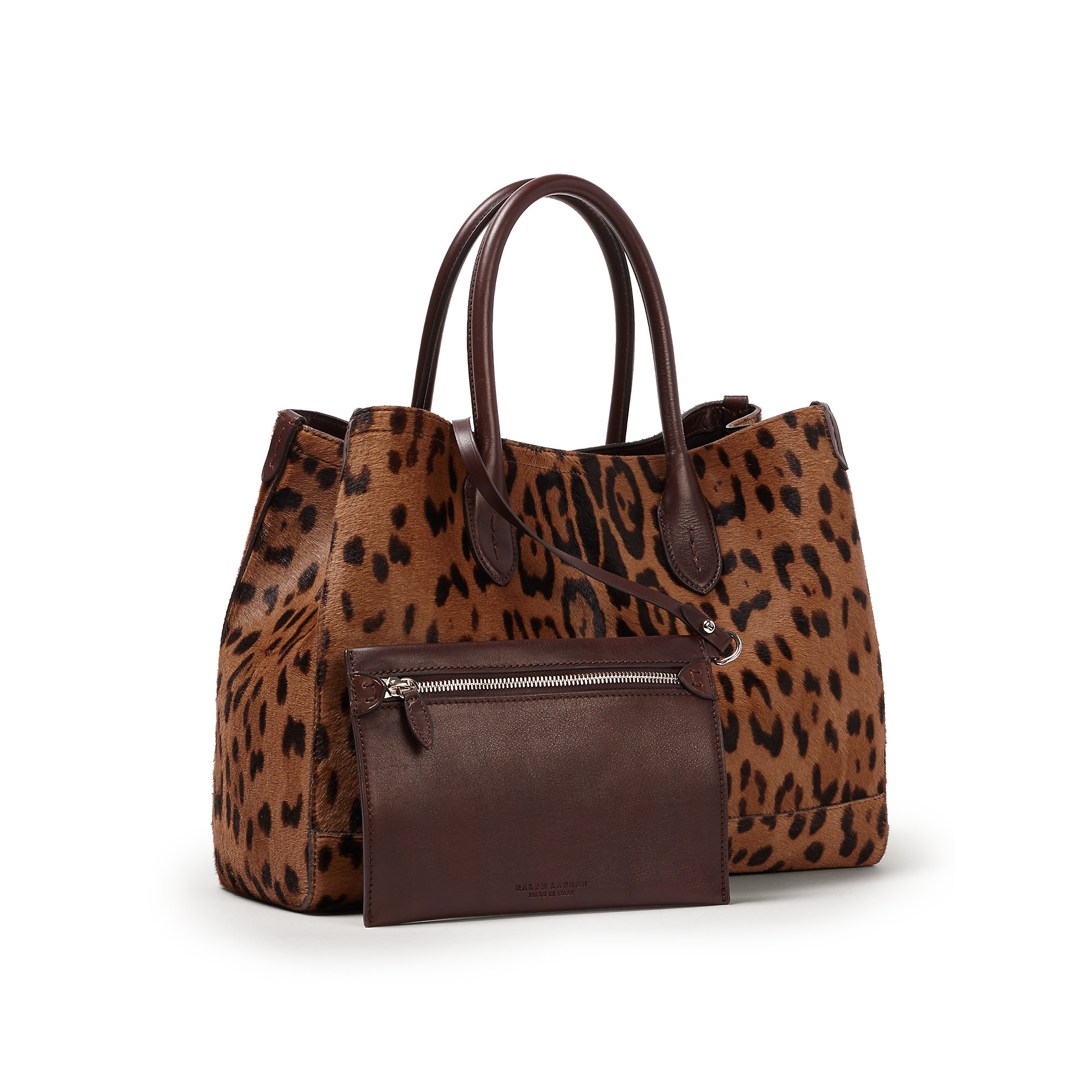 Ralph Lauren Tote Laukku : Pink pony haircalf mini tote in brown lyst