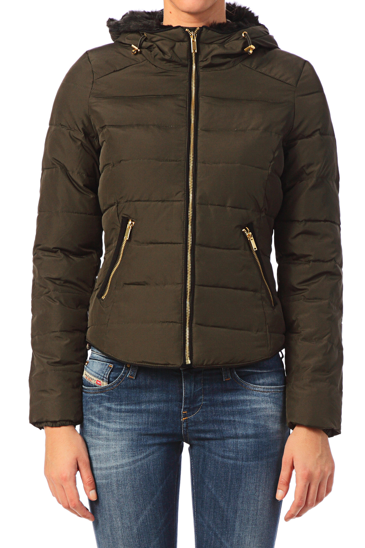 Vero moda Quilted Jacket in Green | Lyst