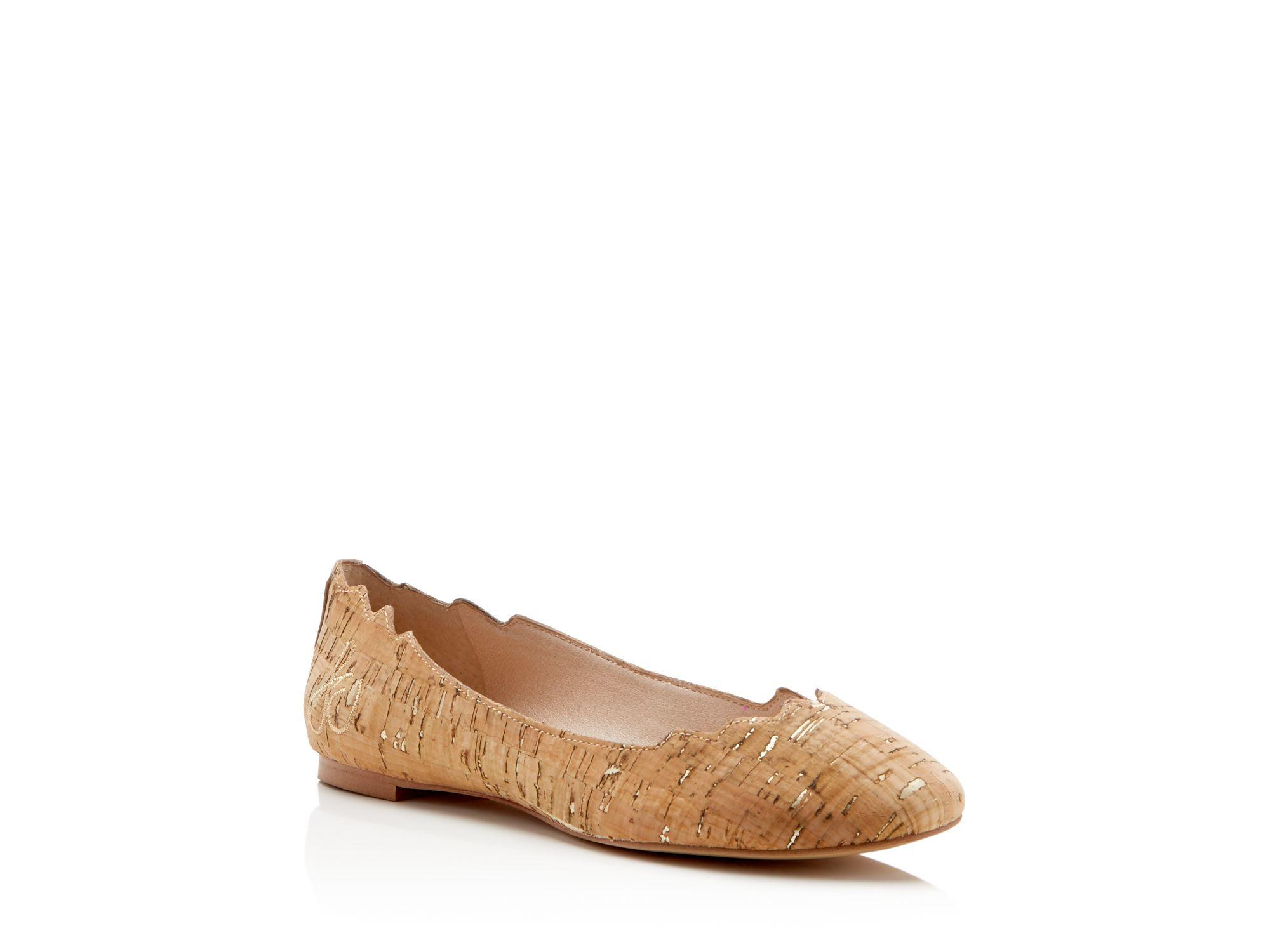 7ea6726bea041 Lyst - Sam Edelman Augusta Cork Scallop-edge Ballet Flats in Brown