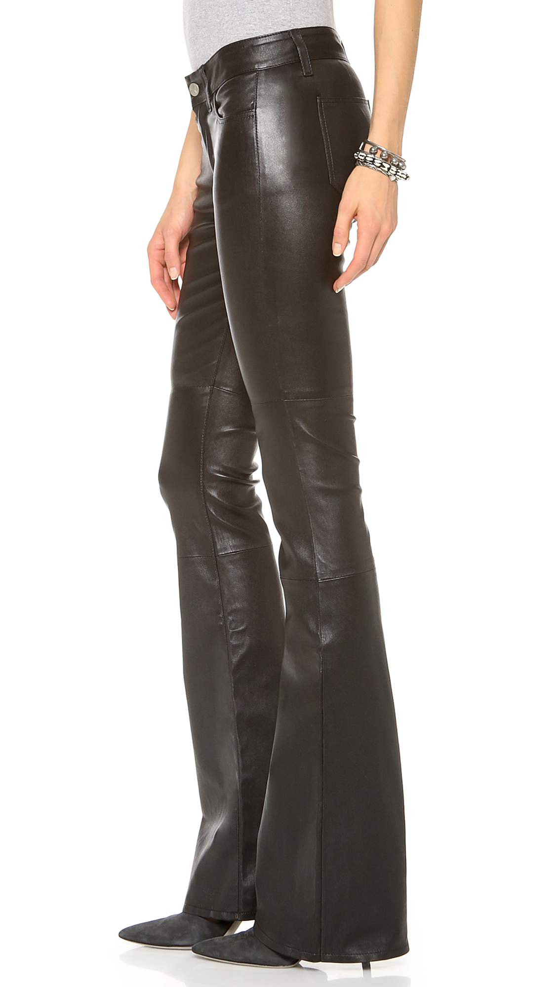 Mih Black Marrakesh Leather Kick Flare Pants Product Normal on Retro Hair Scarves