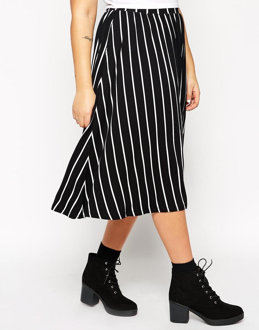 asos curve midi skirt in stripe in black blackwhite