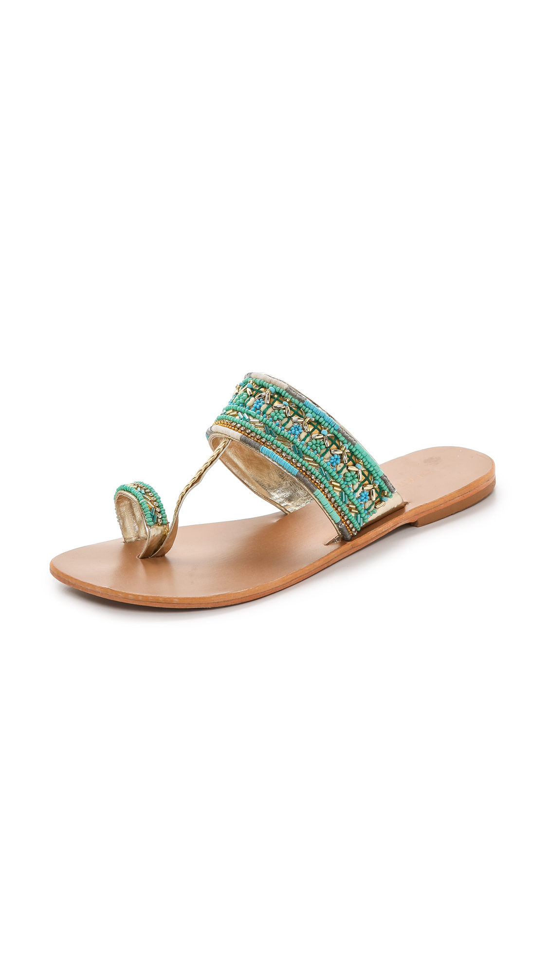 Star Mela Sabri Beaded Sandals - Turquoise In Blue - Lyst-9536