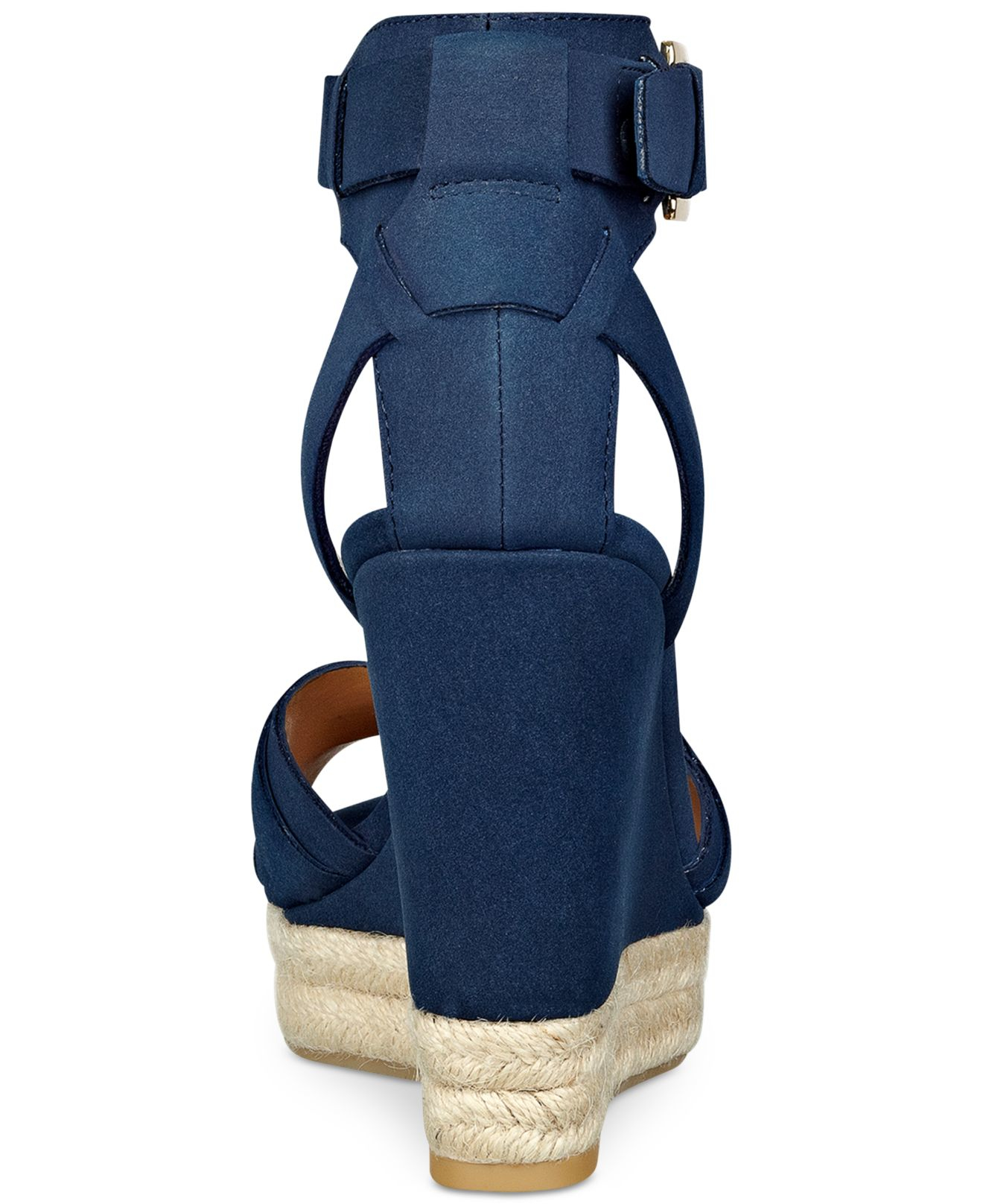 b920edb1e Lyst - Tommy Hilfiger Velvet Espadrille Platform Wedge Sandals in Blue