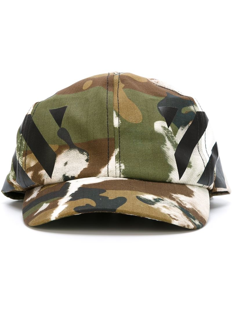 a7e3af1ce69 Lyst - Off-White c o Virgil Abloh Printed Camouflage Cap in Green ...