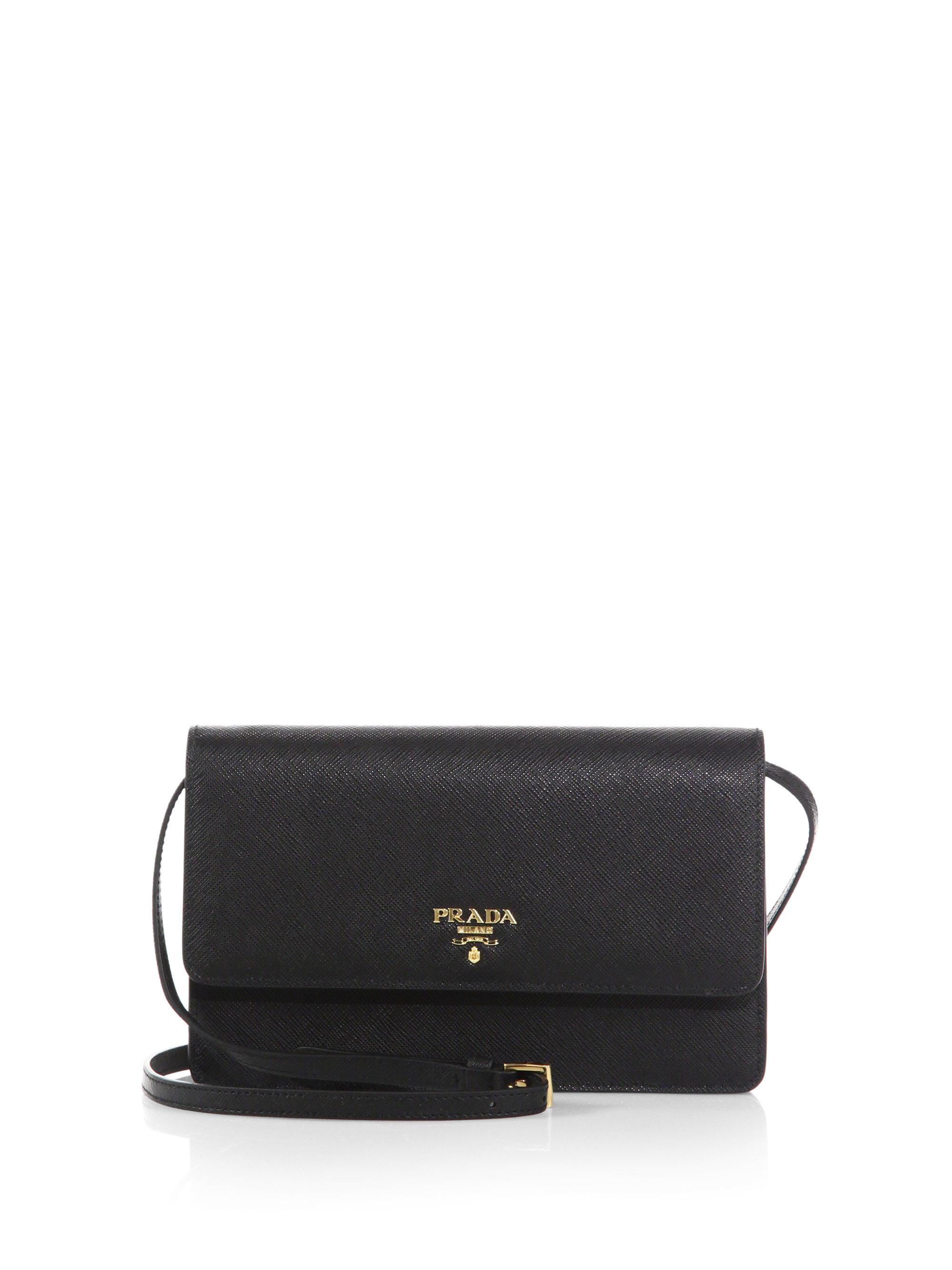 ... closeout lyst prada saffiano lux crossbody bag in black cf80f 6a166 aefb54d944091