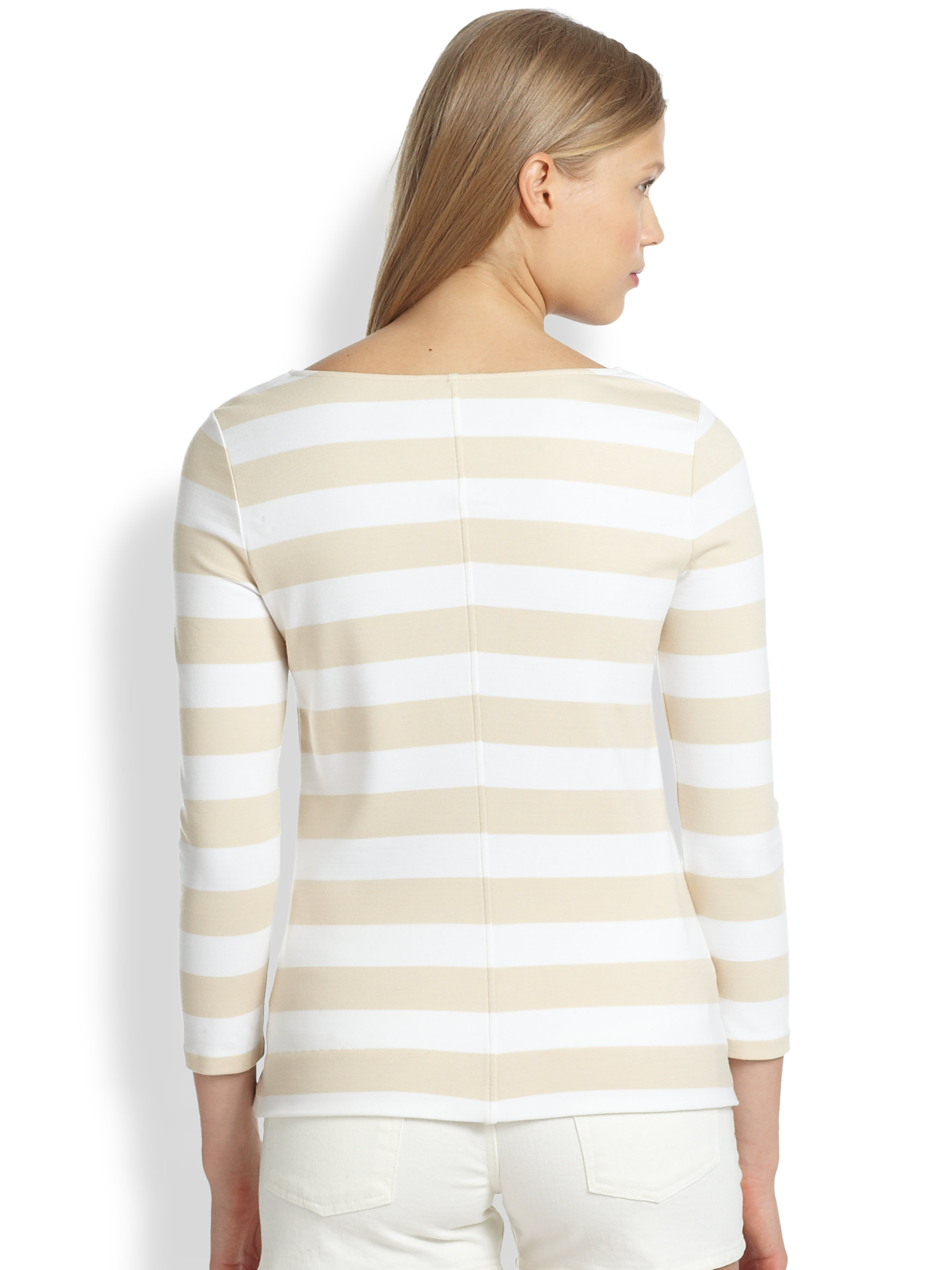 Torre spalla Oh  Theory Valona Striped Tee in Ivory White (Natural) - Lyst