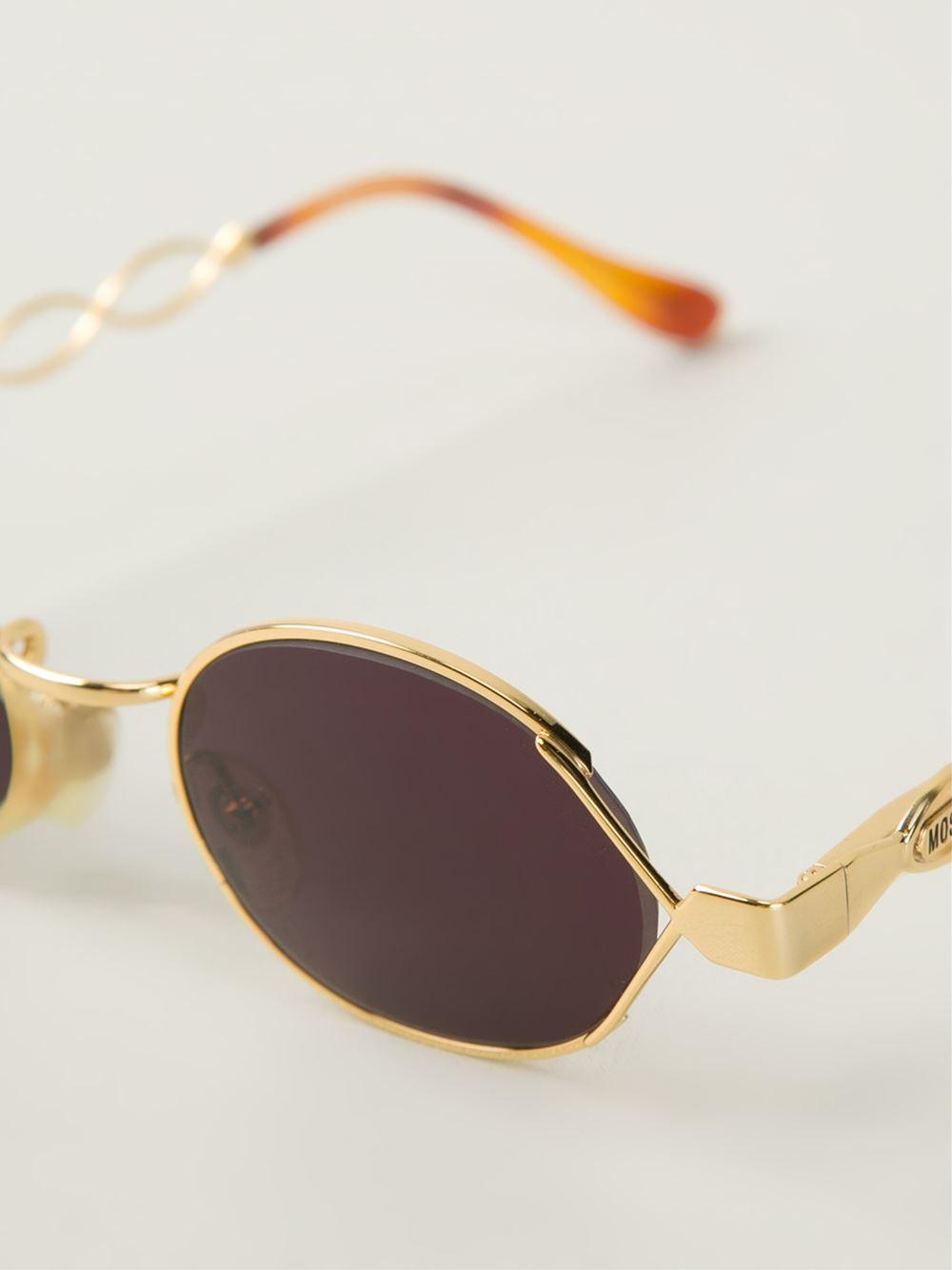 Moschino Round Frame Sunglasses in Metallic Lyst