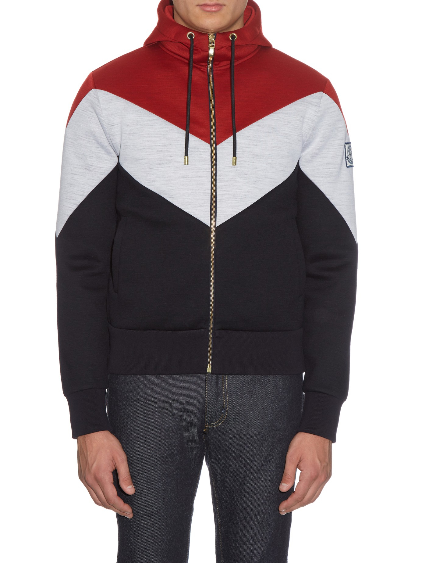 Lyst - Moncler Gamme Bleu Striped Zip-up Hooded Wool Sweatshirt in Red for Men