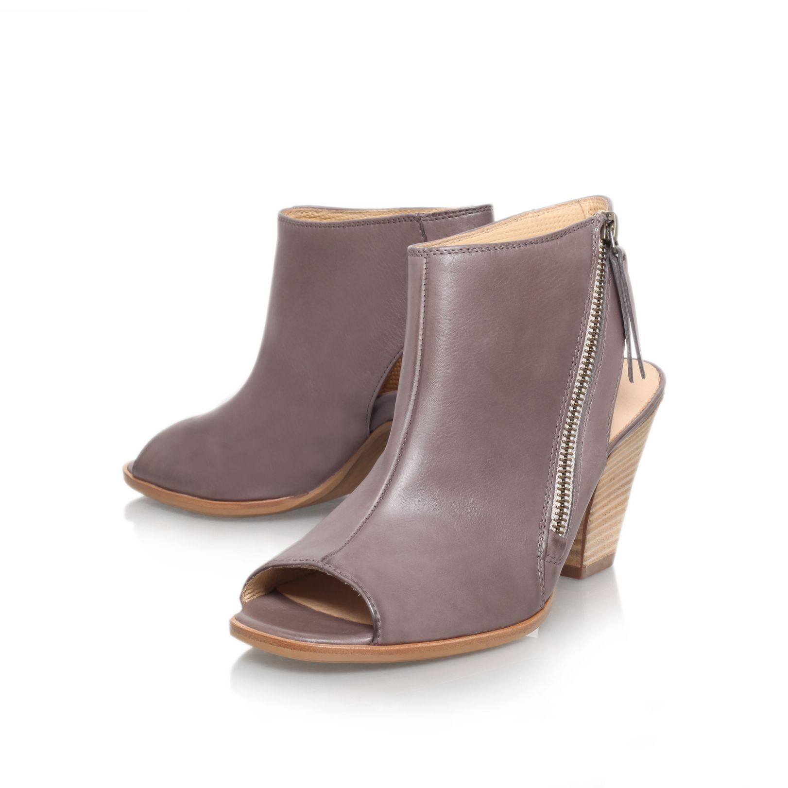 paul green annabel mid heel peep toe shoe boots in gray taupe lyst. Black Bedroom Furniture Sets. Home Design Ideas
