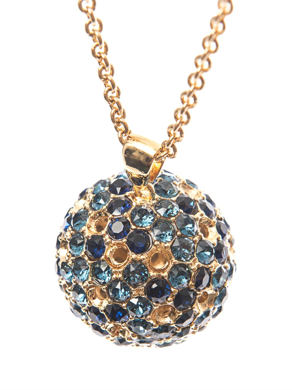 Alexander Mcqueen Crystal Embellished Ball Necklace In