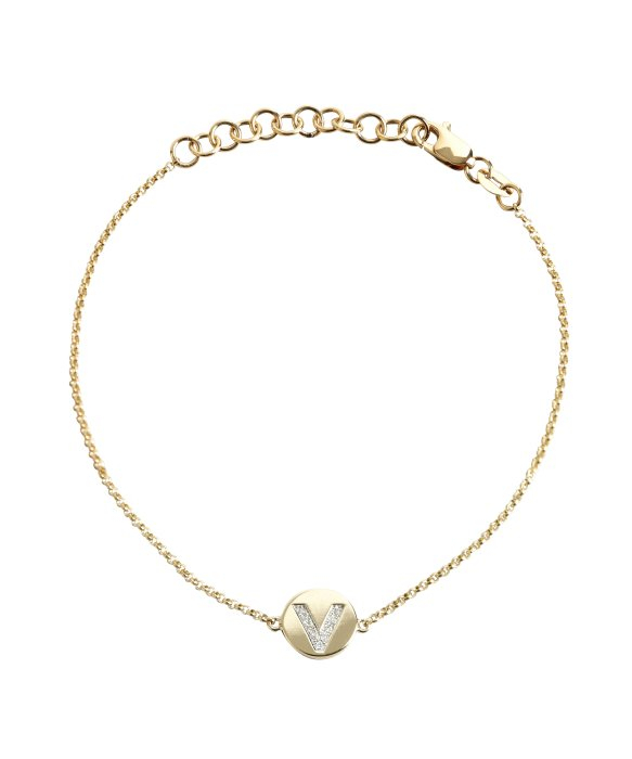 Lyst kc designs gold and diamond v initial pendant bracelet in gallery mozeypictures Images