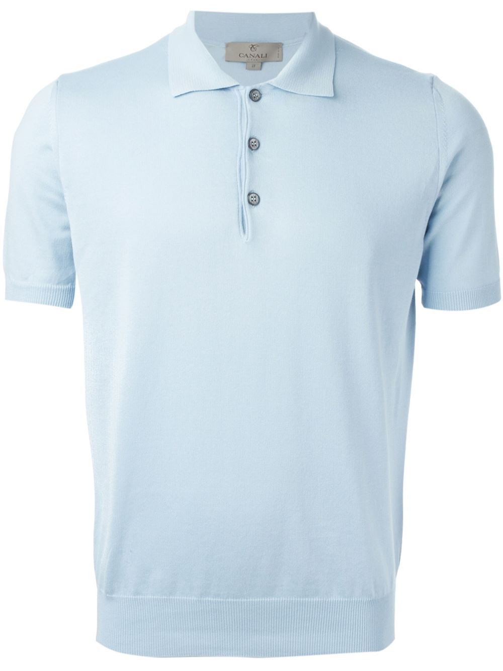 Lyst Canali Knitted Polo Shirt In Blue For Men