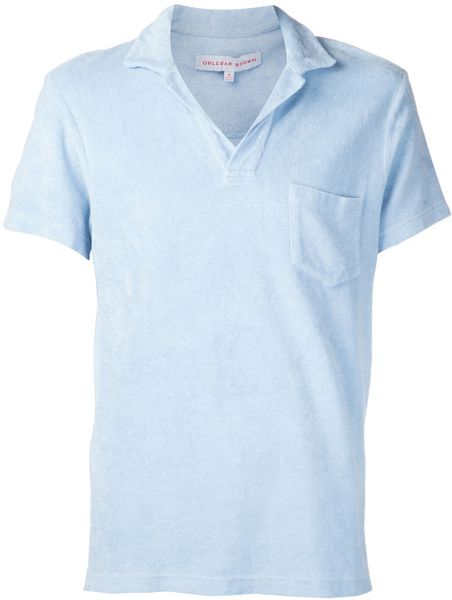 orlebar brown terry cloth polo shirt in blue for men lyst