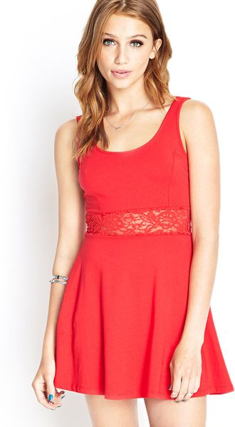 Forever 21 Lace Fit Amp Flare Dress In Red Lyst
