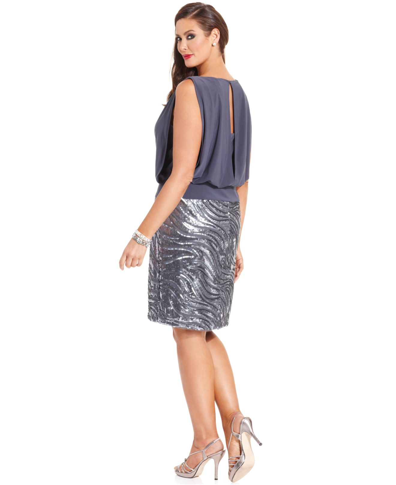 Betsy & Adam Gray Plus Size Sequin Blouson Dress